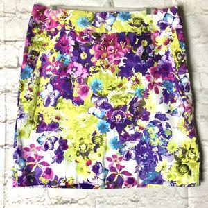 Adrienne Vittadini Multicolored Floral Skirt